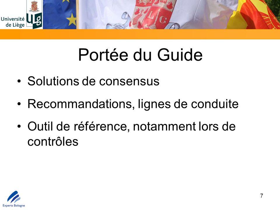 Portée du Guide Solutions de consensus Recommandations, lignes de conduite Outil de référence, notamment lors de contrôles 7