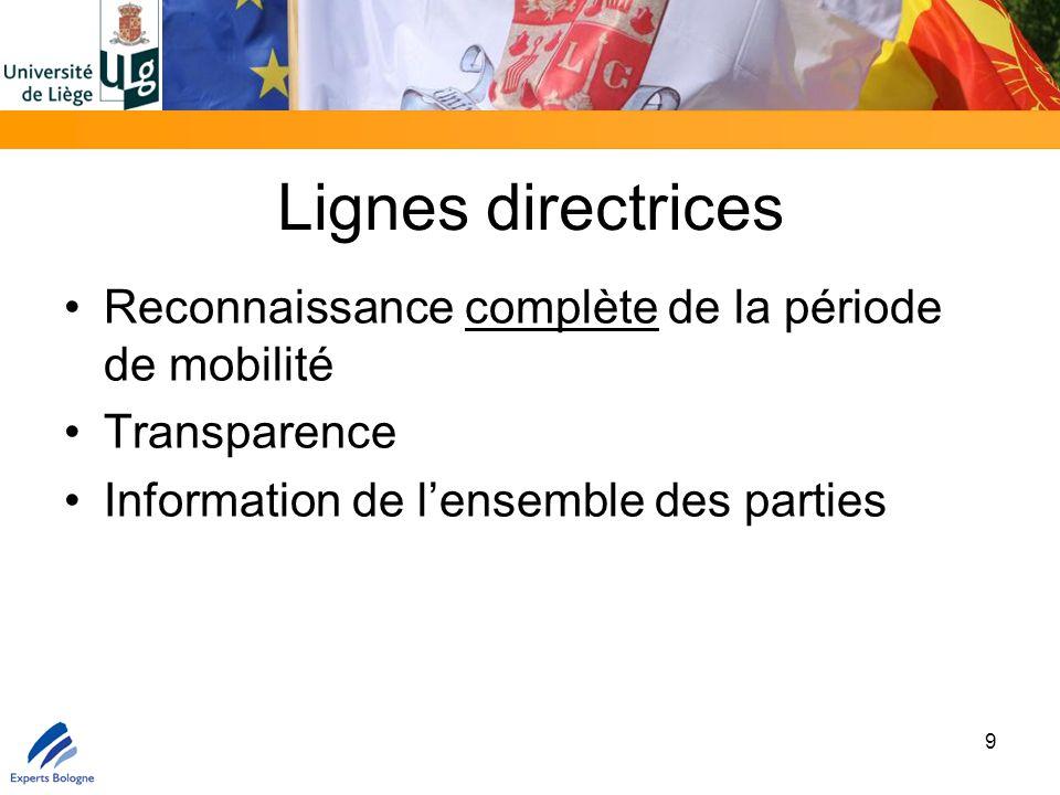 Lignes directrices Reconnaissance complète de la période de mobilité Transparence Information de l'ensemble des parties 9