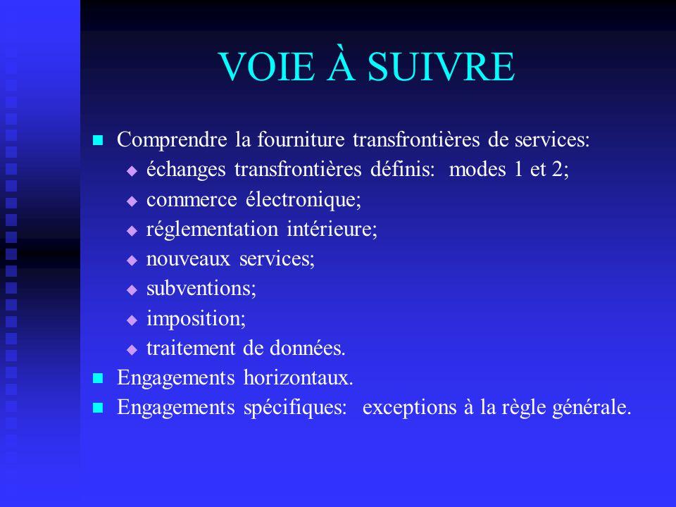 VOIE À SUIVRE Comprendre la fourniture transfrontières de services:   échanges transfrontières définis: modes 1 et 2;   commerce électronique;  