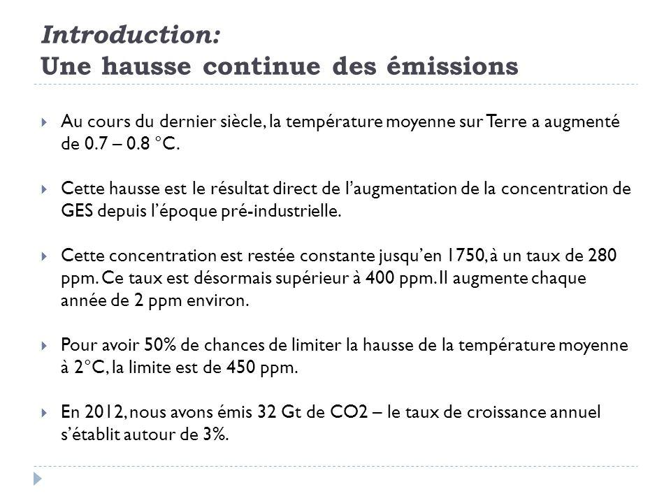 Introduction: Une hausse continue des émissions  Au cours du dernier siècle, la température moyenne sur Terre a augmenté de 0.7 – 0.8 °C.