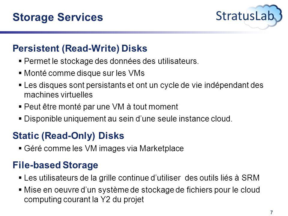 7 Storage Services Persistent (Read-Write) Disks  Permet le stockage des données des utilisateurs.