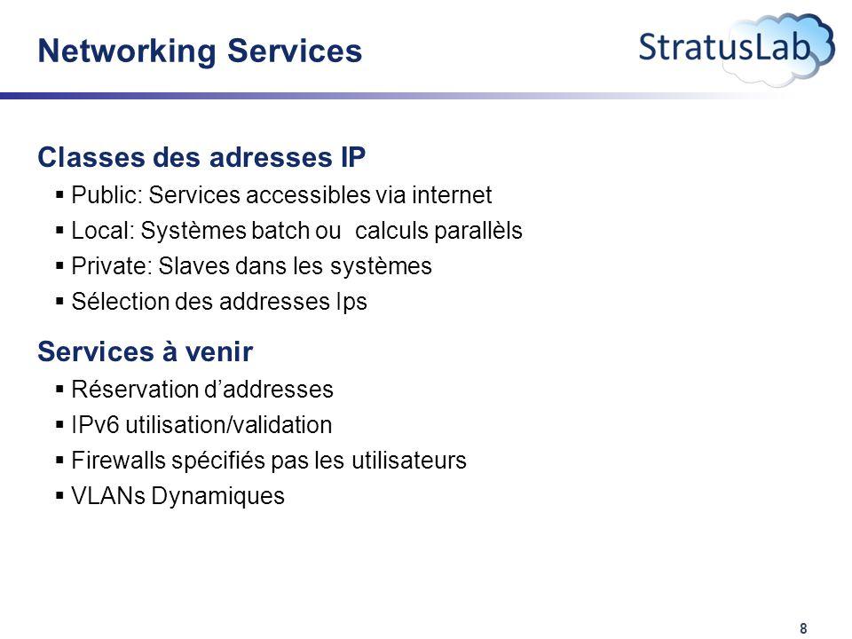 8 Networking Services Classes des adresses IP  Public: Services accessibles via internet  Local: Systèmes batch ou calculs parallèls  Private: Slaves dans les systèmes  Sélection des addresses Ips Services à venir  Réservation d'addresses  IPv6 utilisation/validation  Firewalls spécifiés pas les utilisateurs  VLANs Dynamiques