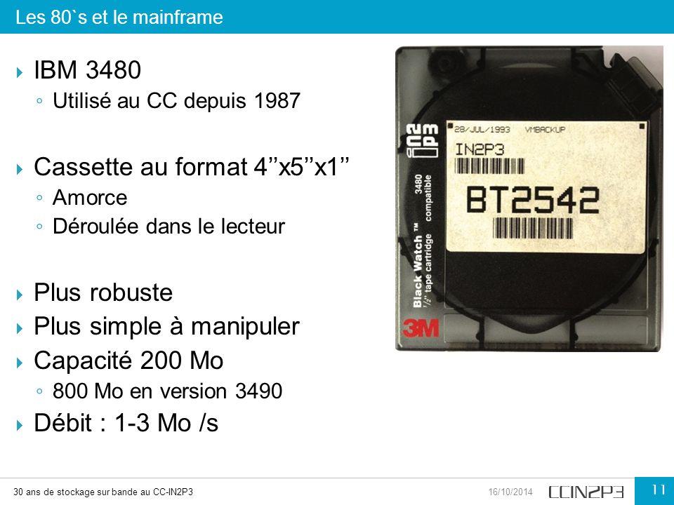  IBM 3480 ◦ Utilisé au CC depuis 1987  Cassette au format 4''x5''x1'' ◦ Amorce ◦ Déroulée dans le lecteur  Plus robuste  Plus simple à manipuler 