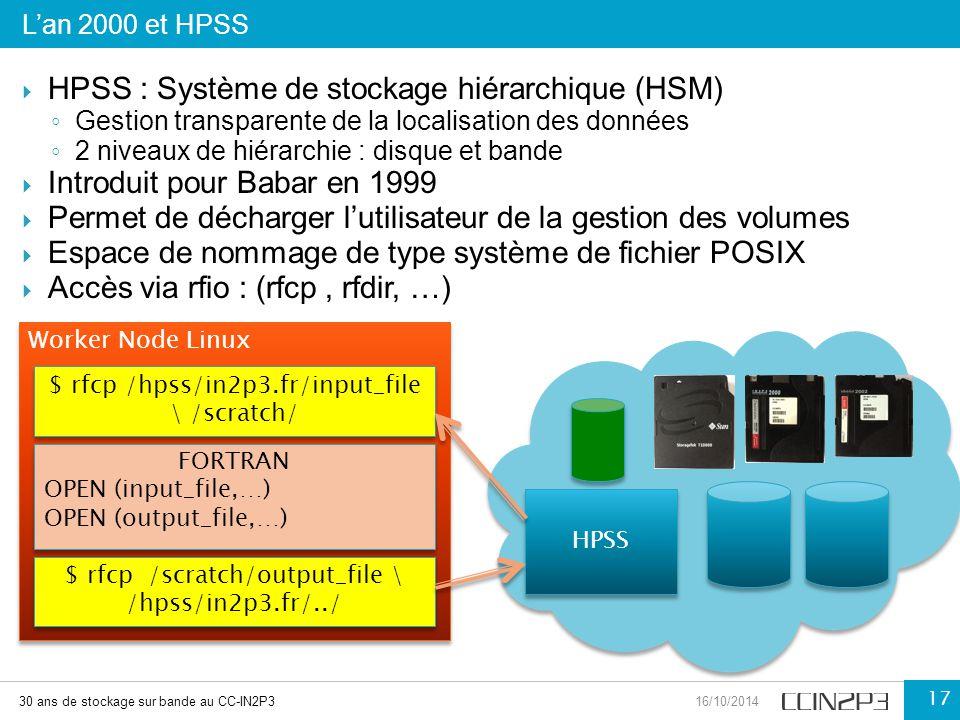  HPSS : Système de stockage hiérarchique (HSM) ◦ Gestion transparente de la localisation des données ◦ 2 niveaux de hiérarchie : disque et bande  In
