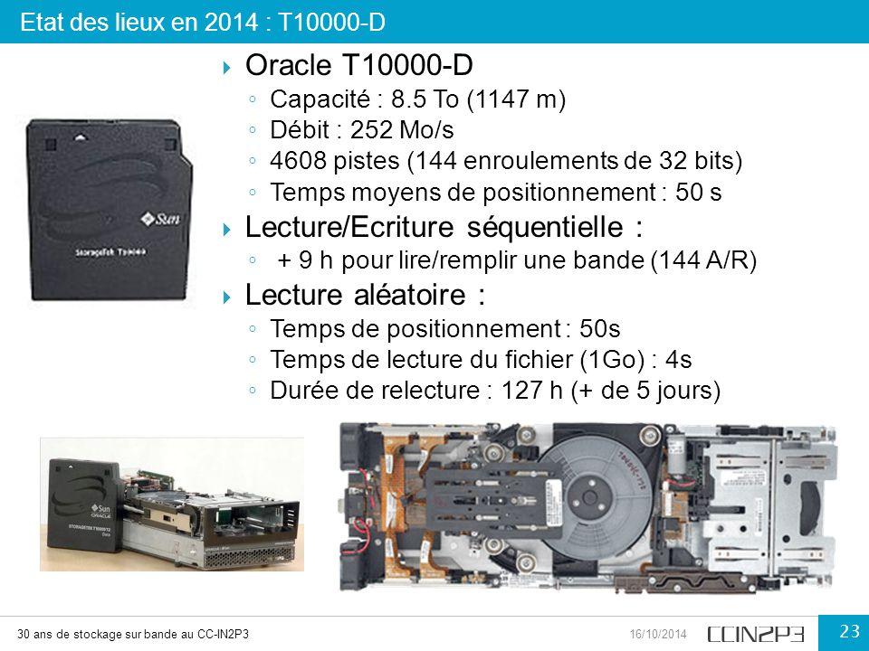  Oracle T10000-D ◦ Capacité : 8.5 To (1147 m) ◦ Débit : 252 Mo/s ◦ 4608 pistes (144 enroulements de 32 bits) ◦ Temps moyens de positionnement : 50 s