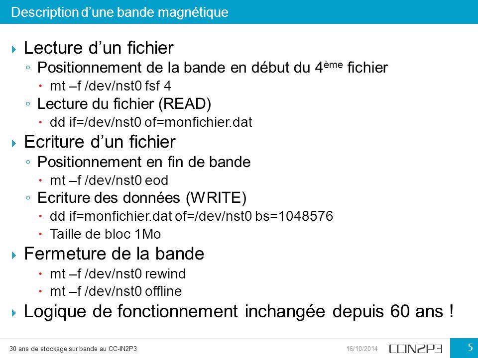  Lecture d'un fichier ◦ Positionnement de la bande en début du 4 ème fichier  mt –f /dev/nst0 fsf 4 ◦ Lecture du fichier (READ)  dd if=/dev/nst0 of