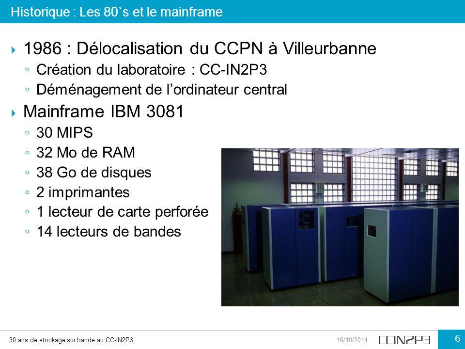  1986 : Délocalisation du CCPN à Villeurbanne ◦ Création du laboratoire : CC-IN2P3 ◦ Déménagement de l'ordinateur central  Mainframe IBM 3081 ◦ 30 M