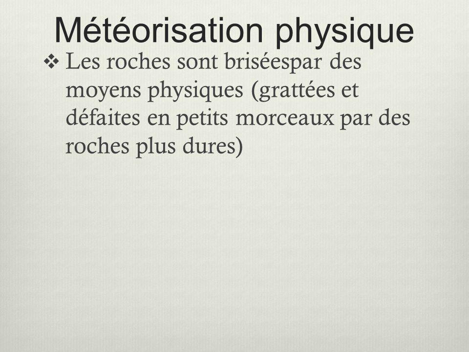 Météorisation physique  Les roches sont briséespar des moyens physiques (grattées et défaites en petits morceaux par des roches plus dures)