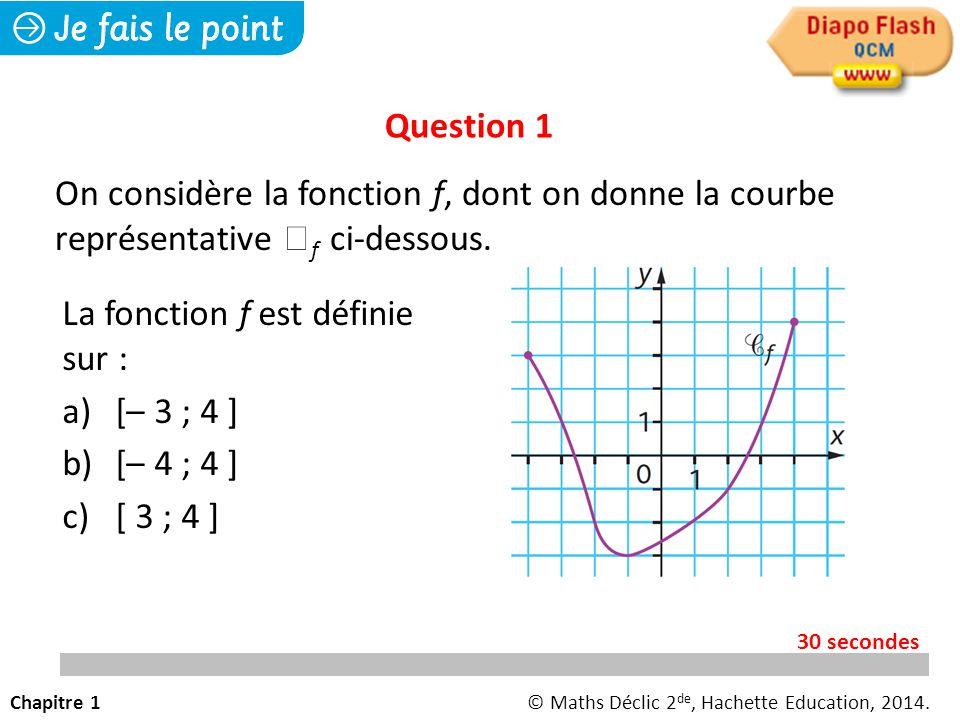 La fonction f est définie sur : a) [– 3 ; 4 ] b) [– 4 ; 4 ] c) [ 3 ; 4 ] Question 1 On considère la fonction f, dont on donne la courbe représentative