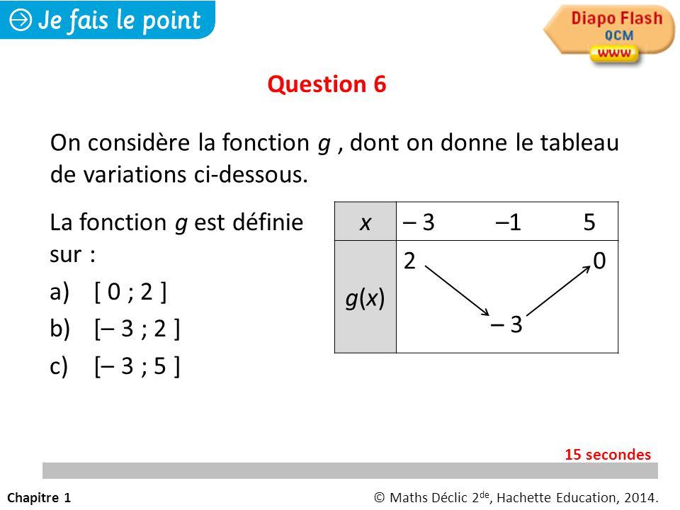 La fonction g est définie sur : a) [ 0 ; 2 ] b) [– 3 ; 2 ] c) [– 3 ; 5 ] Question 6 On considère la fonction g, dont on donne le tableau de variations