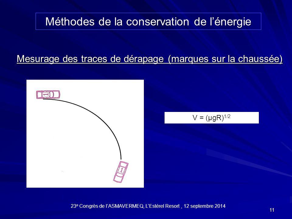 11 V = (µgR) 1/2 Mesurage des traces de dérapage (marques sur la chaussée) Méthodes de la conservation de l'énergie 23 e Congrès de l'ASMAVERMEQ, L'Estérel Resort, 12 septembre 2014
