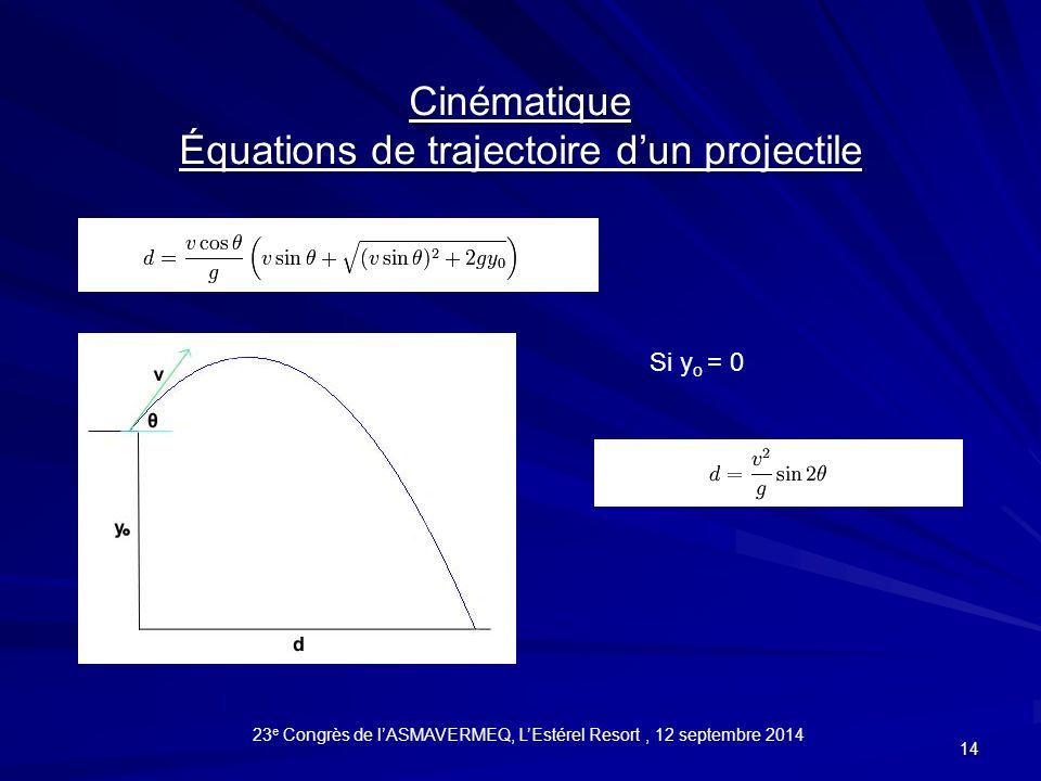 14 Cinématique Équations de trajectoire d'un projectile Si y o = 0 23 e Congrès de l'ASMAVERMEQ, L'Estérel Resort, 12 septembre 2014