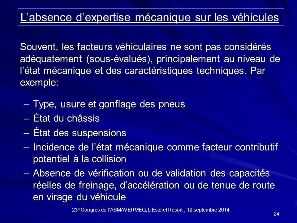 24 Souvent, les facteurs véhiculaires ne sont pas considérés adéquatement (sous-évalués), principalement au niveau de l'état mécanique et des caractéristiques techniques.
