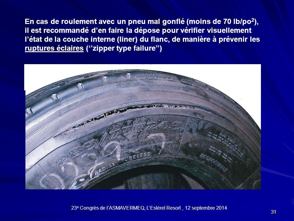 31 En cas de roulement avec un pneu mal gonflé (moins de 70 lb/po 2 ), il est recommandé d'en faire la dépose pour vérifier visuellement l'état de la couche interne (liner) du flanc, de manière à prévenir les ruptures éclaires (''zipper type failure'') 23 e Congrès de l'ASMAVERMEQ, L'Estérel Resort, 12 septembre 2014