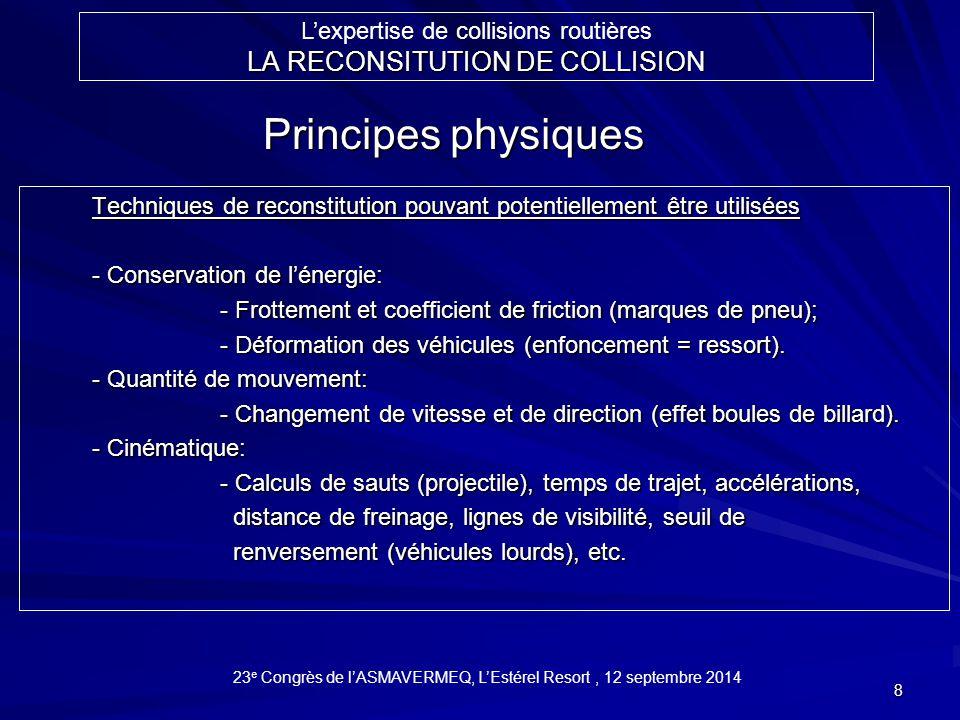 9 Énergie cinétique (1/2mV 2 ) et potentielle –Déformation des véhicules (enfoncement = ressort) Méthodes de la conservation de l'énergie 23 e Congrès de l'ASMAVERMEQ, L'Estérel Resort, 12 septembre 2014