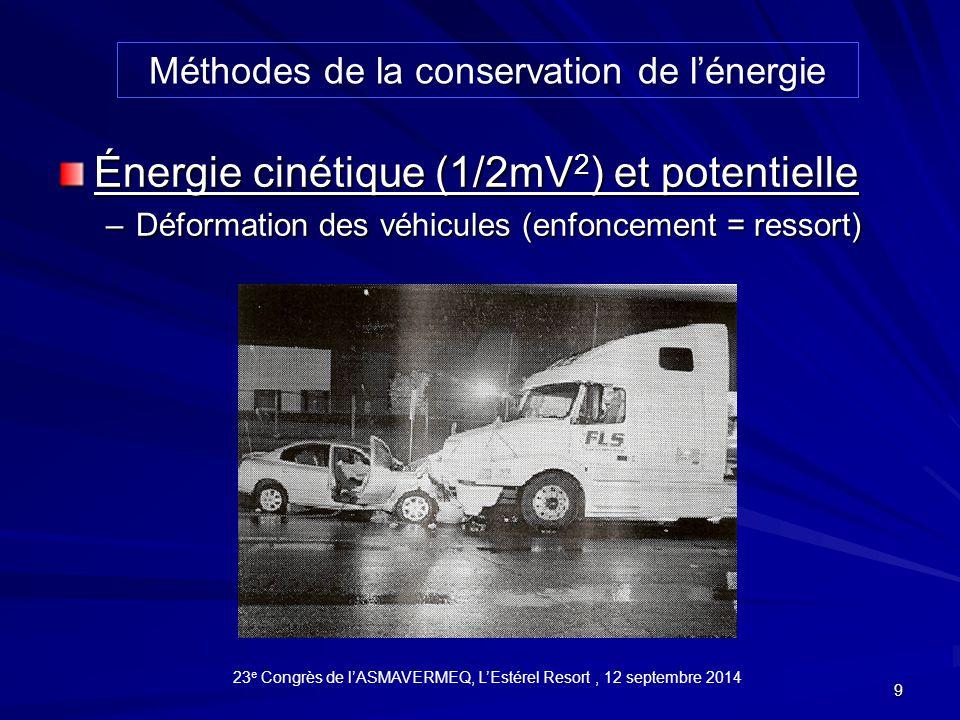10 V = (2µgS) 1/2 Énergie dissipée au freinage (mesurage des traces de freinage) Méthodes de la conservation de l'énergie 23 e Congrès de l'ASMAVERMEQ, L'Estérel Resort, 12 septembre 2014