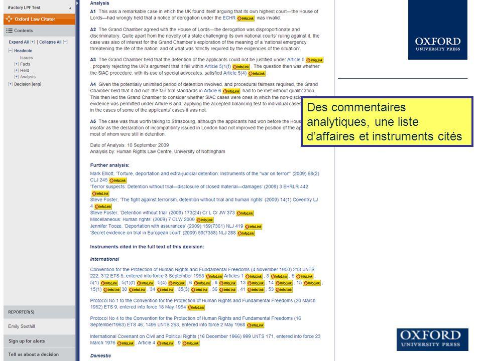 Des commentaires analytiques, une liste d'affaires et instruments cités