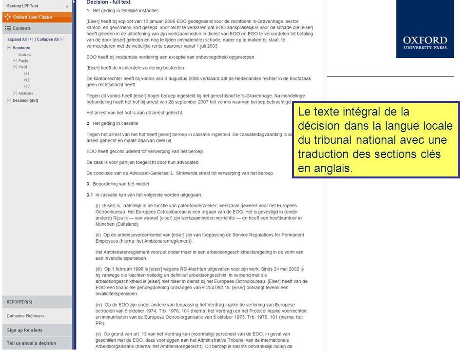 Le texte intégral de la décision dans la langue locale du tribunal national avec une traduction des sections clés en anglais.