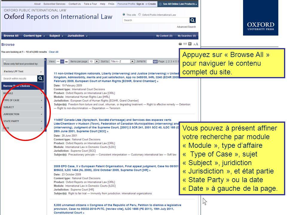 Appuyez sur « Browse All » pour naviguer le contenu complet du site. Vous pouvez à présent affiner votre recherche par module « Module », type d'affai