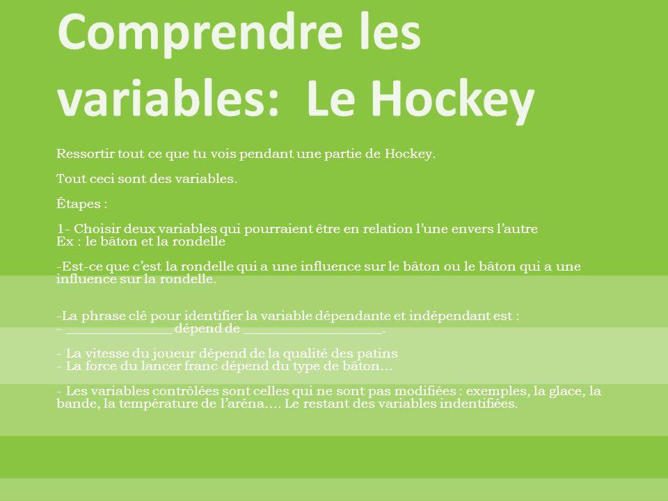 Ressortir tout ce que tu vois pendant une partie de Hockey. Tout ceci sont des variables. Étapes : 1- Choisir deux variables qui pourraient être en re