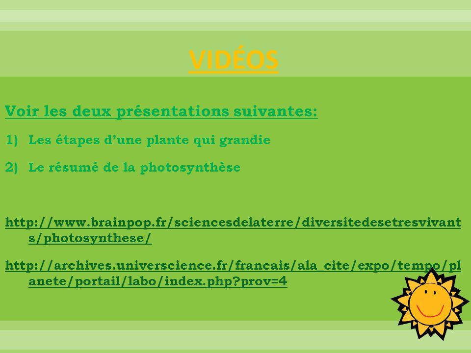 VIDÉOS Voir les deux présentations suivantes: 1)Les étapes d'une plante qui grandie 2)Le résumé de la photosynthèse http://www.brainpop.fr/sciencesdel