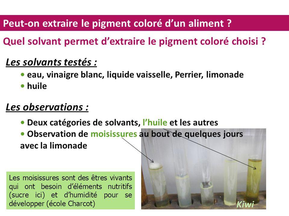 Peut-on extraire le pigment coloré d'un aliment ? Quel solvant permet d'extraire le pigment coloré choisi ? Les solvants testés : eau, vinaigre blanc,