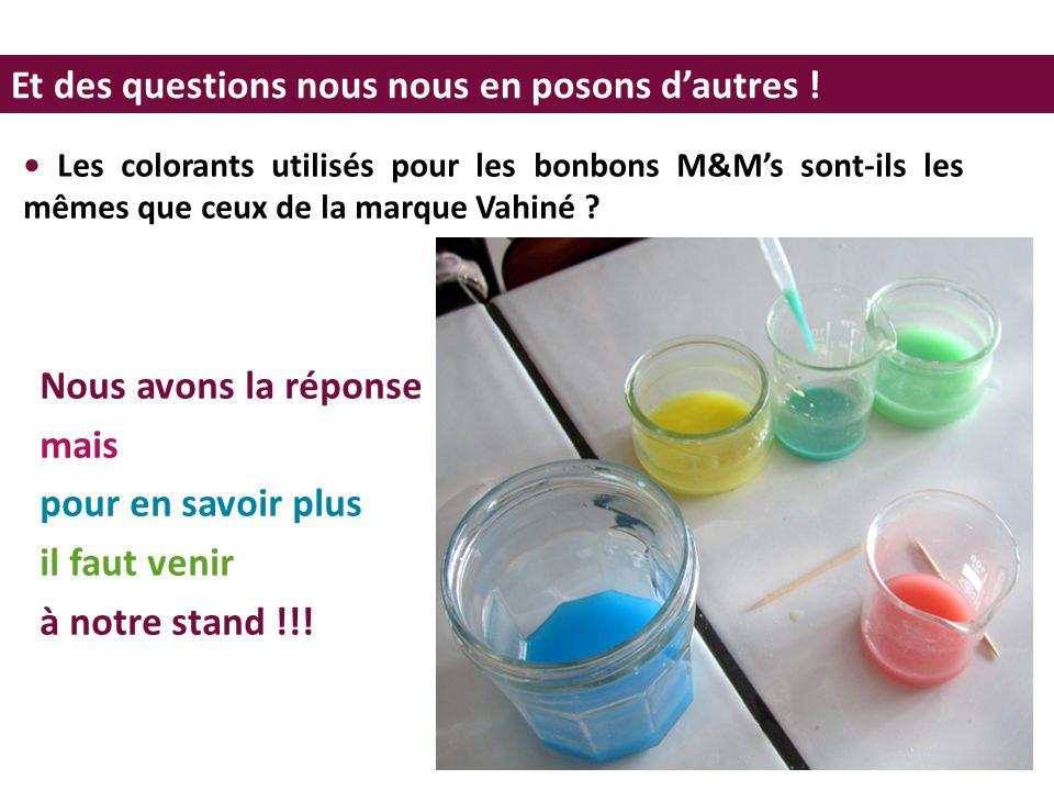 Et des questions nous nous en posons d'autres ! Les colorants utilisés pour les bonbons M&M's sont-ils les mêmes que ceux de la marque Vahiné ? Nous a