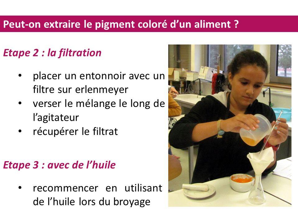 Peut-on extraire le pigment coloré d'un aliment ? Etape 2 : la filtration placer un entonnoir avec un filtre sur erlenmeyer verser le mélange le long