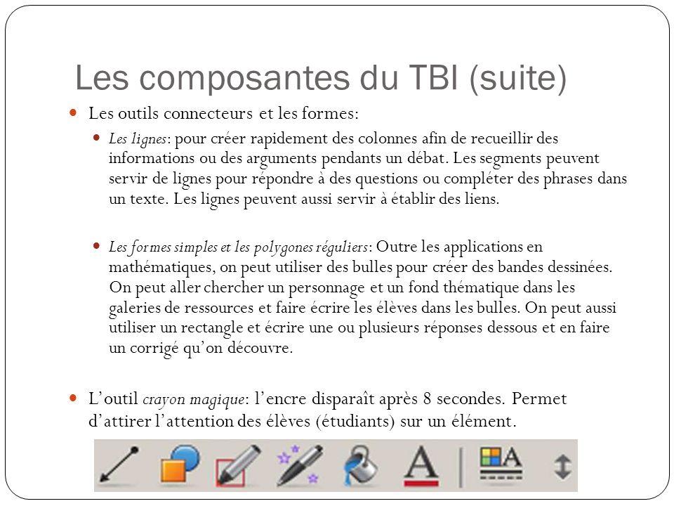 Les composantes du TBI (suite) Les outils connecteurs et les formes: Les lignes: pour créer rapidement des colonnes afin de recueillir des information