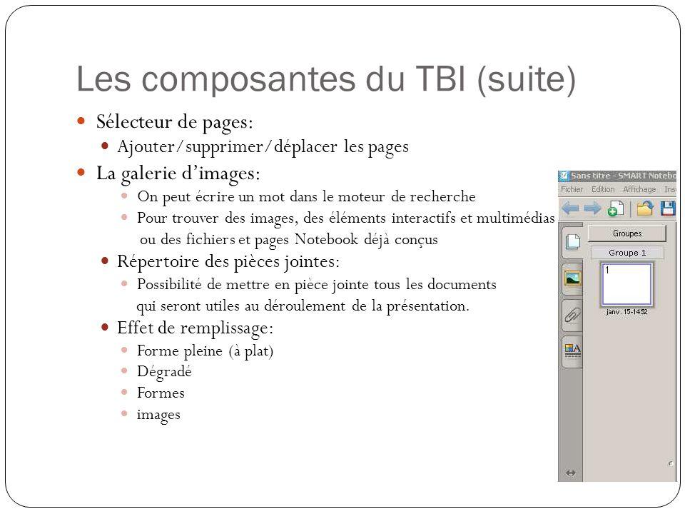 Les composantes du TBI (suite) Sélecteur de pages: Ajouter/supprimer/déplacer les pages La galerie d'images: On peut écrire un mot dans le moteur de r