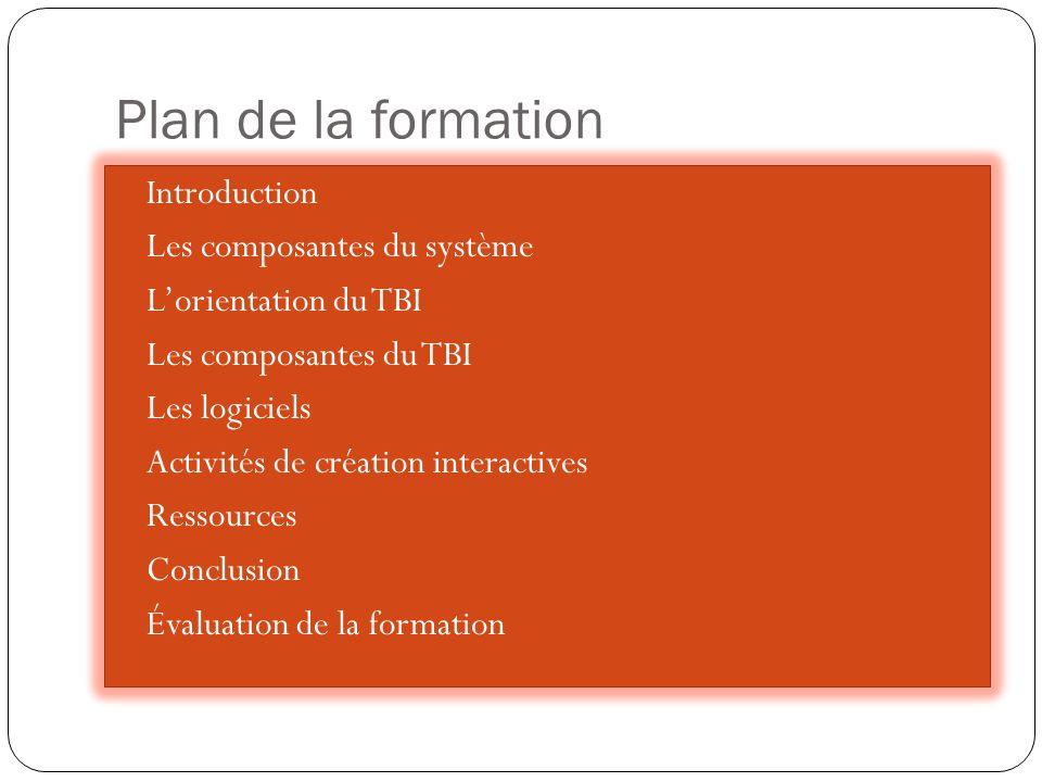 Plan de la formation Introduction Les composantes du système L'orientation du TBI Les composantes du TBI Les logiciels Activités de création interactives Ressources Conclusion Évaluation de la formation