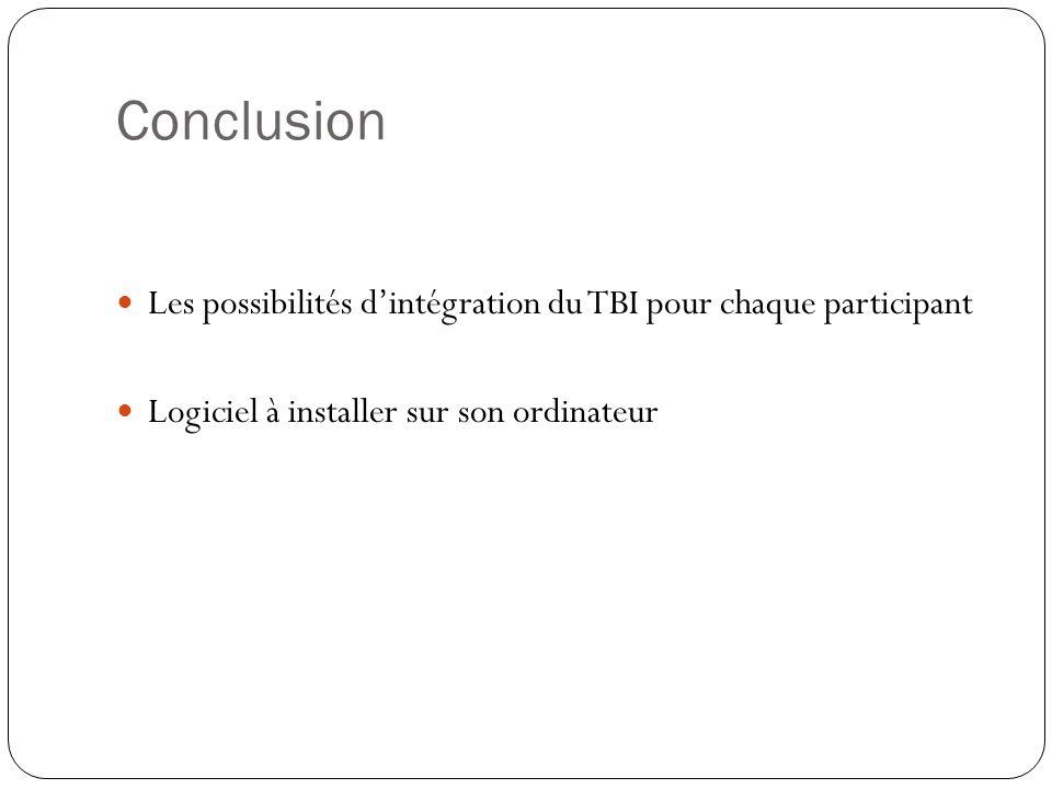 Conclusion Les possibilités d'intégration du TBI pour chaque participant Logiciel à installer sur son ordinateur