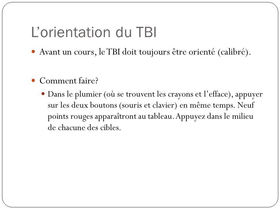 L'orientation du TBI Avant un cours, le TBI doit toujours être orienté (calibré). Comment faire? Dans le plumier (où se trouvent les crayons et l'effa
