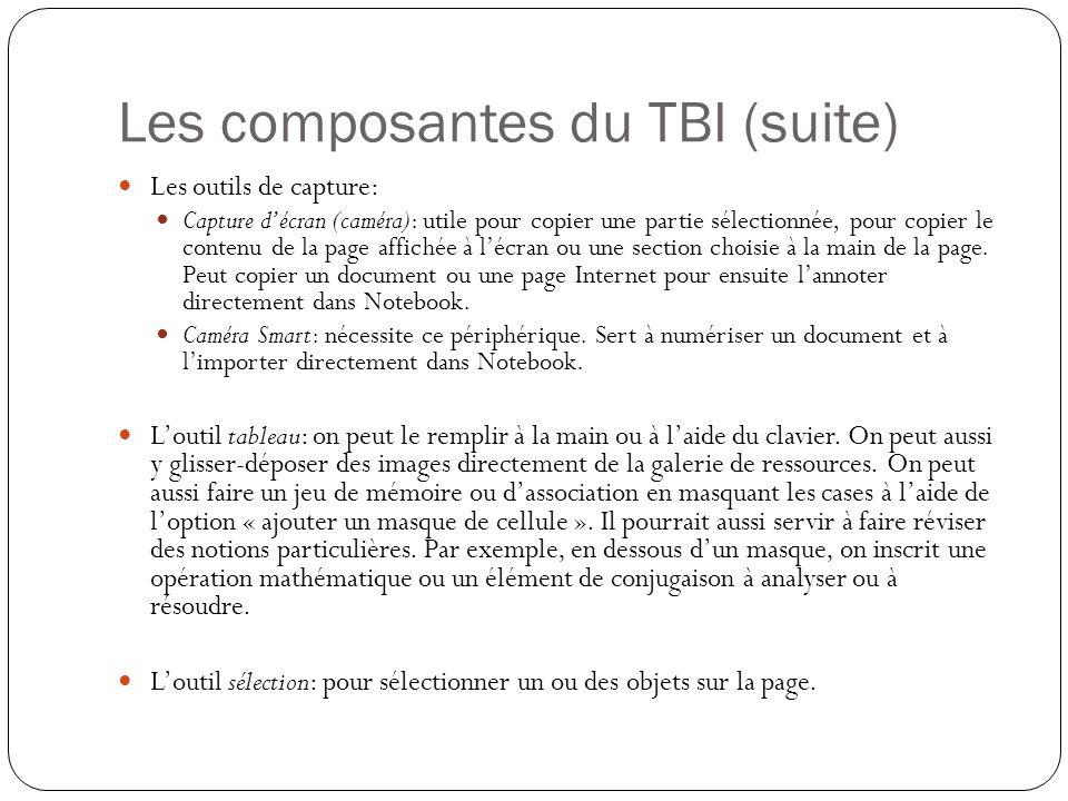 Les composantes du TBI (suite) Les outils de capture: Capture d'écran (caméra): utile pour copier une partie sélectionnée, pour copier le contenu de la page affichée à l'écran ou une section choisie à la main de la page.