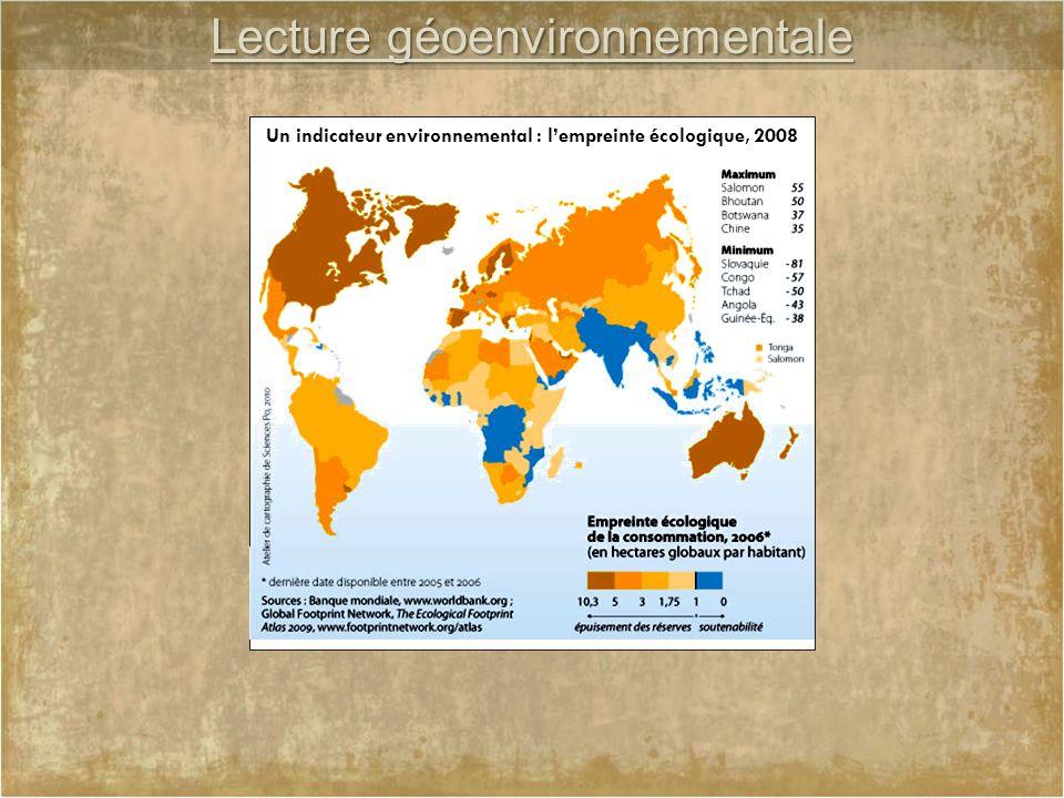 Lecture géoenvironnementale Un indicateur environnemental : l'empreinte écologique, 2008