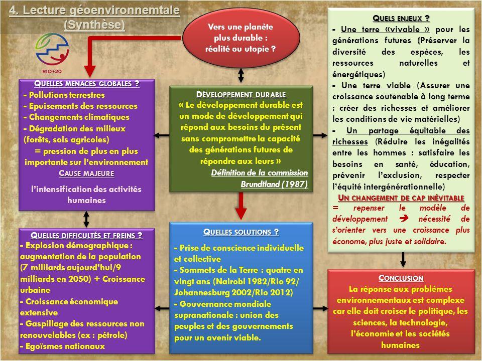 4. Lecture géoenvironnemtale (Synthèse) Q UELLES MENACES GLOBALES ? C AUSE MAJEURE Q UELLES MENACES GLOBALES ? C AUSE MAJEURE Q UELS ENJEUX ? ( - Une