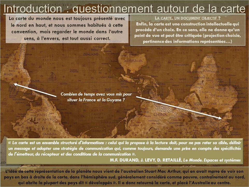 Ressources Fiche Eduscol http://media.eduscol.education.fr/file/lycee/43/3/LyceeGT_Ressources_Geo_T_03_Th1_Q1_Cartes_monde_213433.pdf Des cartes pour apprendre et réfléchir http://cartographie.sciences-po.fr/fr/cartotheque http://www.ladocumentationfrancaise.fr/cartes http://www.monde-diplomatique.fr/cartes/ http://www.unecartedumonde.fr/ http://clioweb.canalblog.com/tag/cartes Site académiques http://histoire-geographie.ac-dijon.fr/SIG/Carto/ http://ww2.ac-poitiers.fr/hist_geo/spip.php?rubrique160 Lecture géopolitique http://leplus.nouvelobs.com/contribution/225090-la-possession-de-l-arme-nucleaire-fait-elle-encore-sens.html http://cartographie.sciences-po.fr/en/conflits-arm-s-2009 Lecture géoéconomique http://www.lefigaro.fr/conjoncture/2012/03/01/20002-20120301ARTFIG00669-les-brics-locomotive-de-la-croissance.php Lecture géoenvironnementale http://www.das-baham.com/article-carte-migrations-environnementales-99226940.html www.sosprepas.com/geopoflash/index-ep137.html (carte interactive) http://www.liberation.fr/monde/2012/05/28/rio-20-une-chance-pour-l-avenir-que-nous-voulons_821961 http://ecologieplus.com/index.php?newsid=105 http://www.migrationforcee.org/pdf/MFR31/04.pdf (sur le concept de migrations environnementales) http://www.etopia.be/IMG/pdf/Gemenne--migration-et-environnement.pdf (sur le concept de migrations environnementales) Lecture géoculturelle http://www.articque.com/news/330/15/Quelle-est-la-popularite-du-football-dans-le-monde.html http://archives-fr.novopress.info/39806/macdonalds-le-fer-de-lance-de-la-globalisation/ http://www.acrimed.org/article2106.html (le vrai visage de Novopress) http://www.geotheque.org/wordpress/?tag=monde (explication carte violence religieuses dans le monde)