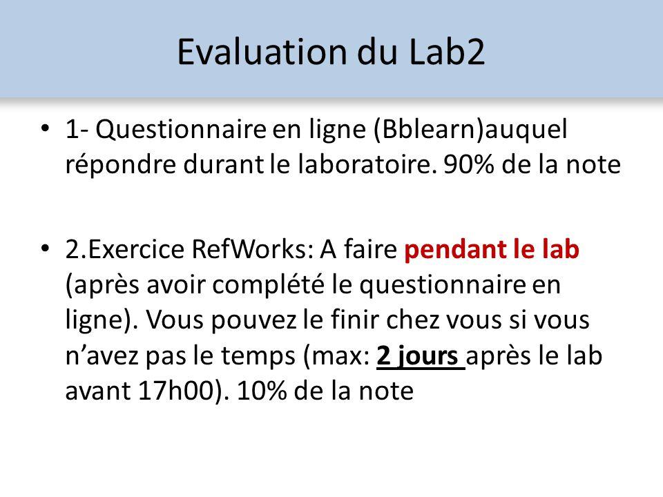 Evaluation du Lab2 1- Questionnaire en ligne (Bblearn)auquel répondre durant le laboratoire. 90% de la note 2.Exercice RefWorks: A faire pendant le la