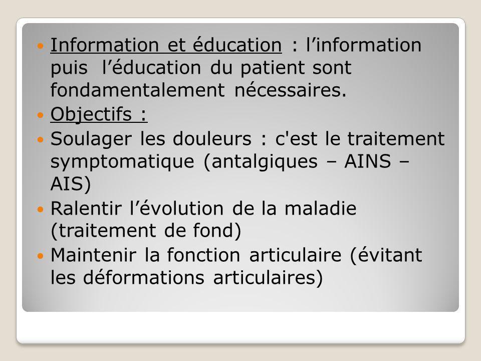 Information et éducation : l'information puis l'éducation du patient sont fondamentalement nécessaires. Objectifs : Soulager les douleurs : c'est le t