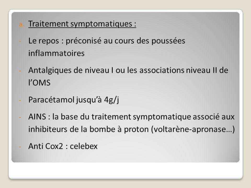 a. Traitement symptomatiques : - Le repos : préconisé au cours des poussées inflammatoires - Antalgiques de niveau I ou les associations niveau II de