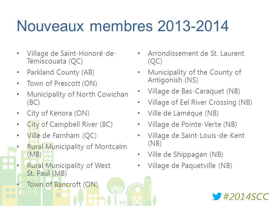 Nouveaux membres 2013-2014 Village de Saint-Honoré-de- Témiscouata (QC) Parkland County (AB) Town of Prescott (ON) Municipality of North Cowichan (BC)