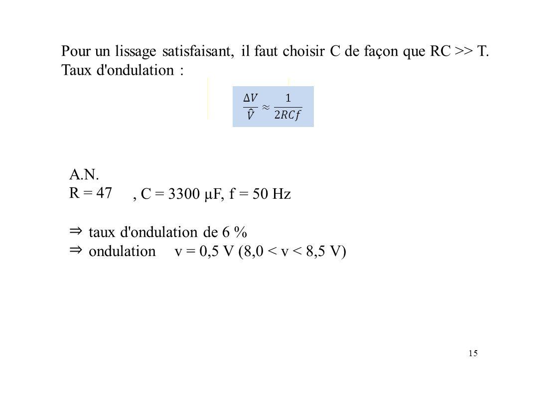 Pour un lissage satisfaisant,ililfautchoisirCdefaçonqueRCRC>>T.T. Taux d'ondulation : A.N. R = 47, C = 3300µ F, f=50 Hz ⇒⇒⇒⇒ taux d'ondulationde 6 % o