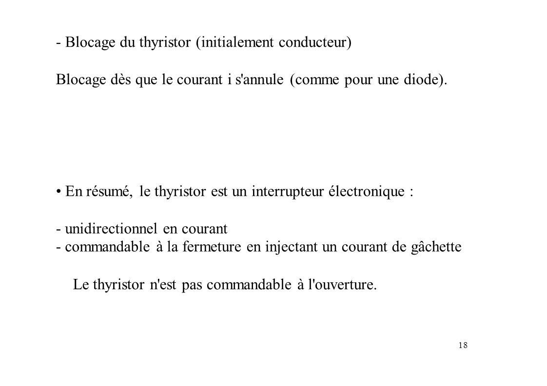 - Blocage du thyristor (initialement conducteur) Blocage dès que le courant i s'annule (comme pourune diode). En résumé, le thyristor est un interrupt