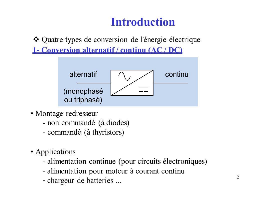 Introduction  Quatre types de conversion de l'énergie électrique 1- Conversion alternatif / continu (AC / DC) : Montage redresseur - non commandé (à