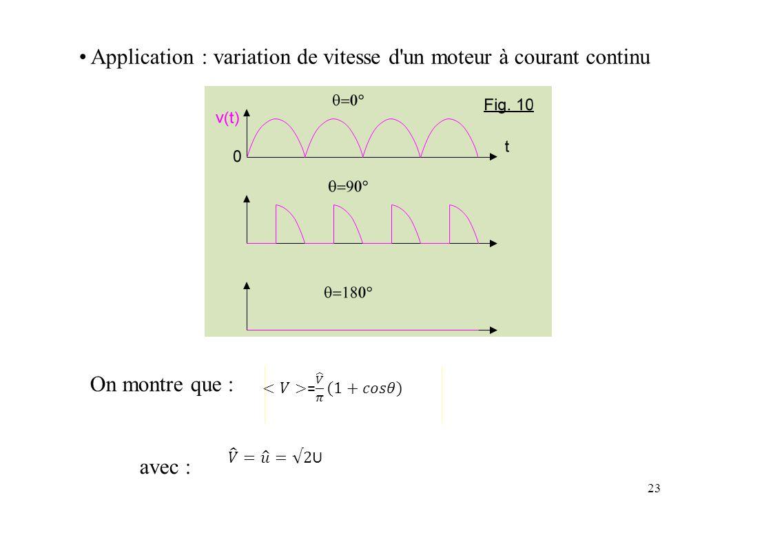 Application:variationdedevitessed'und'unmoteuràcourantcontinu On montre que : avec : 23