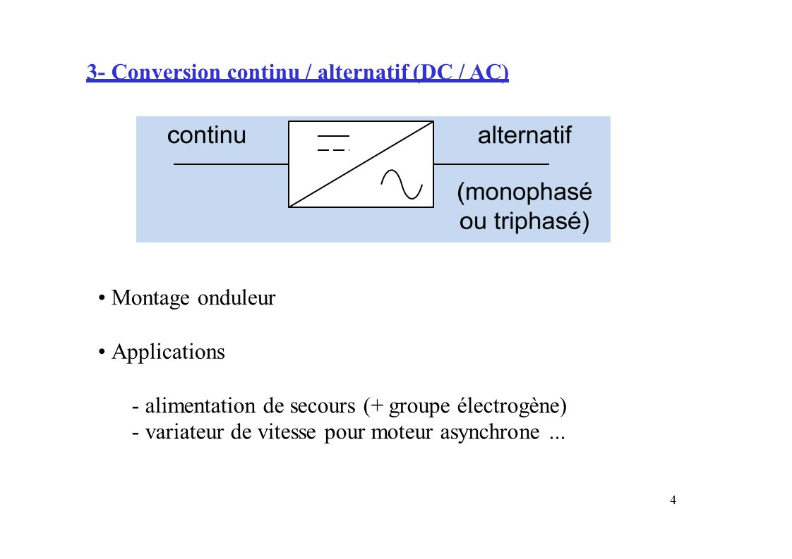 4- Conversion alternatif / alternatif (AC / AC) Montage gradateur Applications ---- variateur dededede lampe halogène vitessepourmoteuruniverseluniversel...