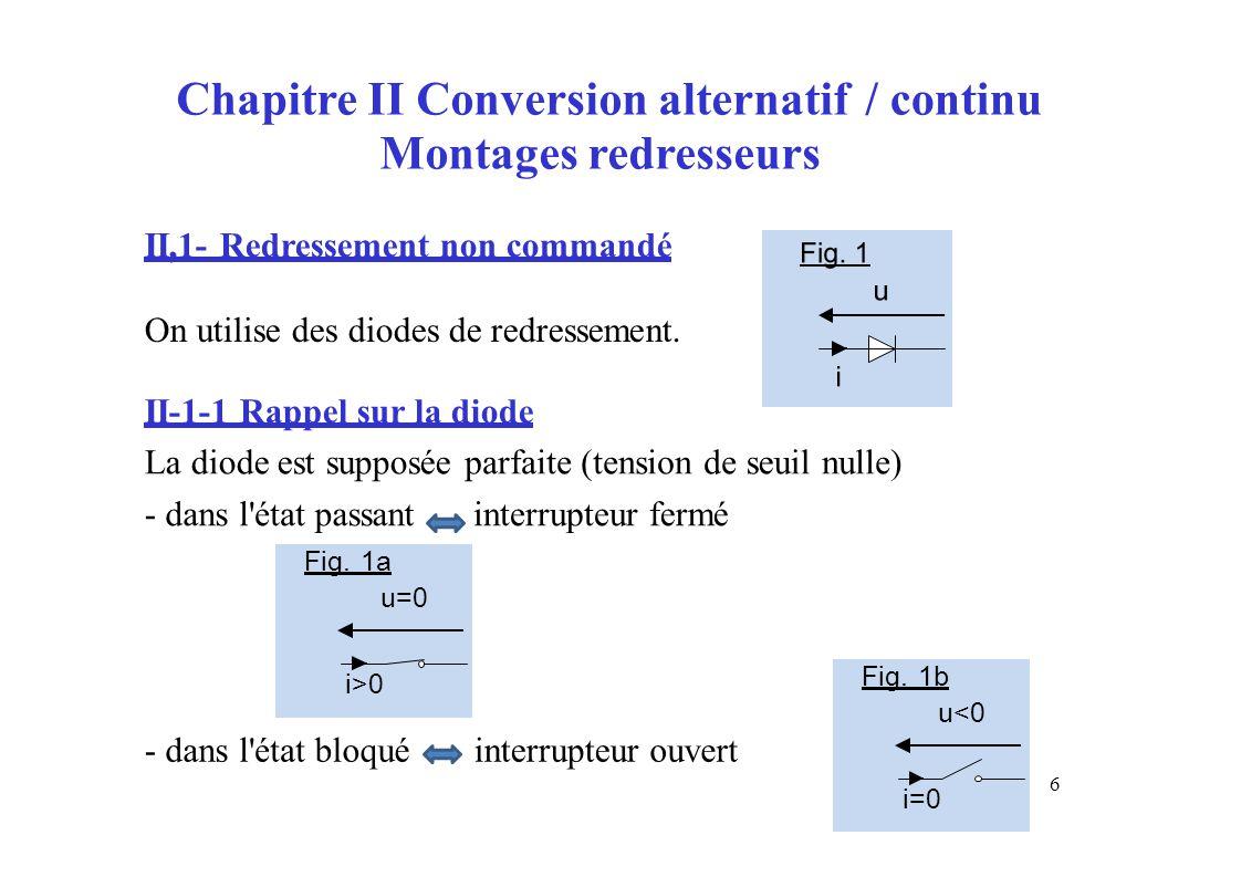 Chapitre II Conversion alternatif Montages redresseurs /continu II,1- Redressement non commandé On utilise des diodes de redressement. II-1-1 Rappel s