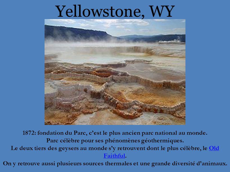 Yellowstone, WY 1872: fondation du Parc, c'est le plus ancien parc national au monde.