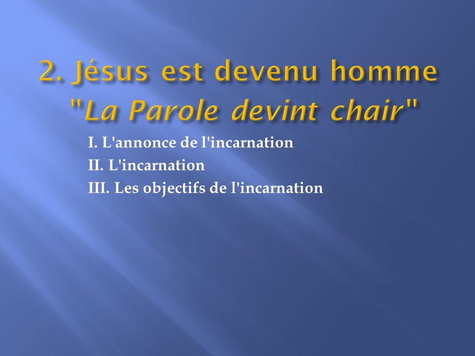 I. L annonce de l incarnation II. L incarnation III. Les objectifs de l incarnation