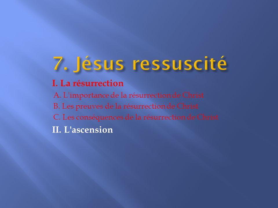 I.La résurrection A. L importance de la résurrection de Christ B.